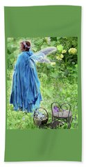Hand Towel featuring the digital art A Dragon Confides In A Fairy by Lise Winne