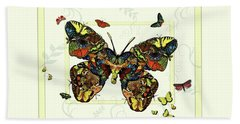 Bath Towel featuring the painting Colorful Butterfly Collage by Deborah Smith