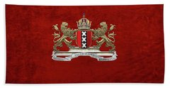 Coat Of Arms Of Amsterdam Over Red Velvet Hand Towel
