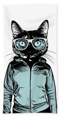 Hand Towel featuring the mixed media Cool Cat by Nicklas Gustafsson