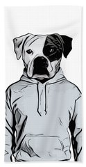 Bath Towel featuring the painting Cool Dog by Nicklas Gustafsson