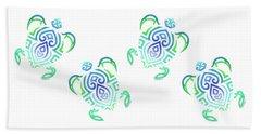Tribal Turtle White Background Bath Towel