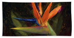 Bath Towel featuring the painting Extravagance - Tropical Bird Of Paradise Flower by Karen Whitworth