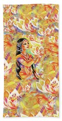 Bath Towel featuring the painting Pray Of The Lotus River by Eva Campbell
