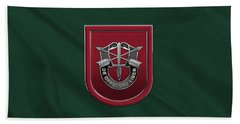 U. S.  Army 7th Special Forces Group - 7 S F G  Beret Flash Over Green Beret Felt Hand Towel