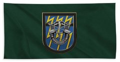 U. S.  Army 12th Special Forces Group - 12 S F G  Beret Flash Over Green Beret Felt Hand Towel