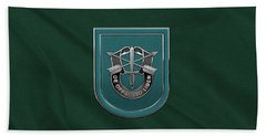 U. S.  Army 19th Special Forces Group - 19 S F G  Beret Flash Over Green Beret Felt Hand Towel