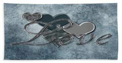 Silver Love Hand Towel by Linda Prewer