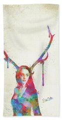 Bath Towel featuring the digital art Song Of Elen Of The Ways Antlered Goddess by Nikki Marie Smith