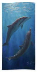 Bath Towel featuring the painting Dolphin Dance - Underwater Whales by Karen Whitworth