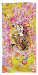 Bath Towel featuring the painting Black Sea Mermaid by Eva Campbell
