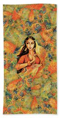 Bath Towel featuring the painting Flame by Eva Campbell