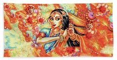 Bath Towel featuring the painting Sun Ray Dance by Eva Campbell