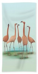 Flamingo Mingle Bath Towel by Ivana Westin