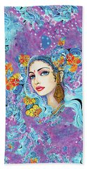Bath Towel featuring the painting The Veil Of Aish by Eva Campbell