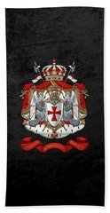 Knights Templar - Coat Of Arms Over Black Velvet Bath Towel