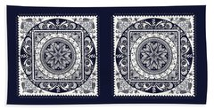 Deep Blue Classic Mandala Bath Towel by Deborah Smith