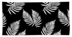 Hand Towel featuring the mixed media Fern Pattern Black And White by Christina Rollo