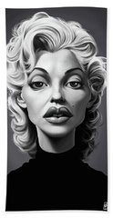 Hand Towel featuring the digital art Celebrity Sunday - Marilyn Monroe by Rob Snow