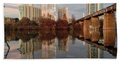 Austin Hike And Bike Trail - Train Trestle 1 Sunset Triptych Left Bath Towel