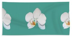 Orchid On Green Bath Towel