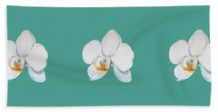 Orchid On Green Hand Towel