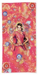 Bath Towel featuring the painting Devika Dance by Eva Campbell