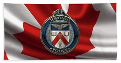 Bath Towel featuring the digital art Toronto Police Service  -  T P S  Emblem Over Canadian Flag by Serge Averbukh