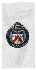 Bath Towel featuring the digital art Toronto Police Service  -  T P S  Emblem Over White Leather by Serge Averbukh