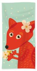 Cute Pretty Fox With Flowers Hand Towel