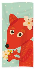 Cute Pretty Fox With Flowers Hand Towel