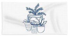Indigo Potted Succulents- Art By Linda Woods Bath Towel