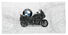 Bath Towel featuring the digital art 2016 Bmw-k1600gt Motorcycle With 3d Badge Over Vintage Blueprint  by Serge Averbukh