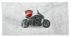 Bath Towel featuring the digital art 2017 Ducati Xdiavel-s Motorcycle With 3d Badge Over Vintage Blueprint  by Serge Averbukh