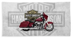 Bath Towel featuring the digital art 2017 Harley-davidson Street Glide Special Motorcycle With 3d Badge Over Vintage Background  by Serge Averbukh