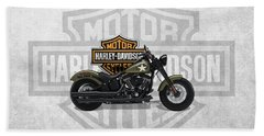 Bath Towel featuring the digital art 2017 Harley-davidson Softail Slim S Motorcycle With 3d Badge Over Vintage Background  by Serge Averbukh