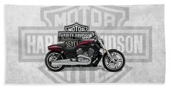 Bath Towel featuring the digital art 2017 Harley-davidson V-rod Muscle Motorcycle With 3d Badge Over Vintage Background  by Serge Averbukh