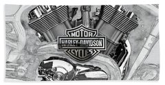 Bath Towel featuring the digital art Harley-davidson Motorcycle Engine Detail With 3d Badge  by Serge Averbukh