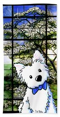 Westie At Dogwood Window Hand Towel