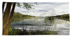 Bath Towel featuring the painting Quiet Day By Lake by Ivana Westin