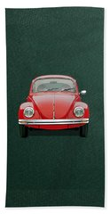 Hand Towel featuring the digital art Volkswagen Type 1 - Red Volkswagen Beetle On Green Canvas by Serge Averbukh