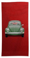 Hand Towel featuring the digital art Volkswagen Type 1 - Green Volkswagen Beetle On Red Canvas by Serge Averbukh