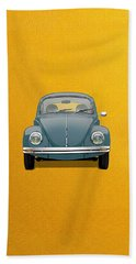 Hand Towel featuring the digital art Volkswagen Type 1 - Blue Volkswagen Beetle On Yellow Canvas by Serge Averbukh