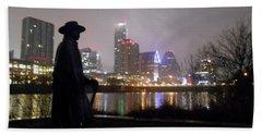 Austin Hike And Bike Trail - Iconic Austin Statue Stevie Ray Vaughn - One Hand Towel by Felipe Adan Lerma