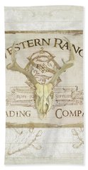 Hand Towel featuring the painting Western Range 3 Old West Deer Skull Wooden Sign Trading Company by Audrey Jeanne Roberts