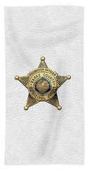 Hand Towel featuring the digital art Darke County Municipal Court - Probation Officer Badge Over White Leather by Serge Averbukh
