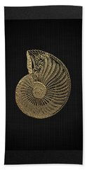 Hand Towel featuring the digital art Fossil Record - Golden Ammonite Fossil On Square Black Canvas #1 by Serge Averbukh