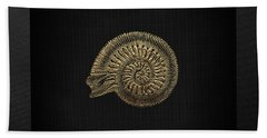 Hand Towel featuring the digital art Fossil Record - Golden Ammonite Fossil On Square Black Canvas #2 by Serge Averbukh