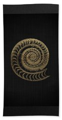 Hand Towel featuring the digital art Fossil Record - Golden Ammonite Fossil On Square Black Canvas # by Serge Averbukh