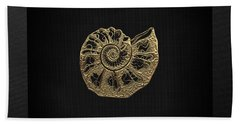 Hand Towel featuring the digital art Fossil Record - Golden Ammonite Fossil On Square Black Canvas #4 by Serge Averbukh